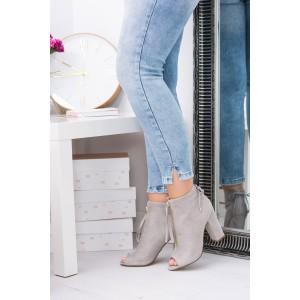 Moderná dámska obuv v sivej farbe s otvorenou špičkou a vysokým podpätkom