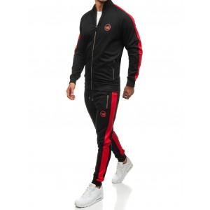 Čierno červená pánska tepláková súprava s dlhým rukávom bez kapucne