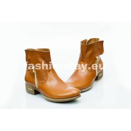 Dámske kožené topánky hnedé DT475