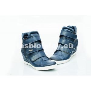 Dámske kožené topánky tmavo modré DT224