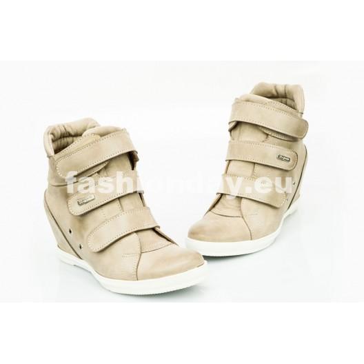 Dámske kožené topánky cappuccino DT224