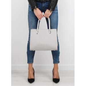 Dámska kabelka do ruky sivej farby s vreckom na vonkajšej strane