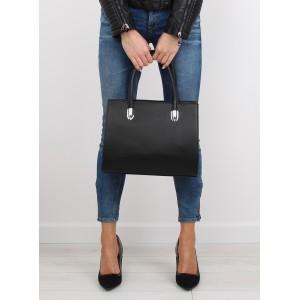 Jednoduchá dámska čierna kabelka do ruky bez vzorov