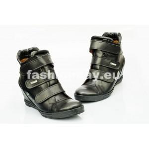 Dámske kožené topánky čierne DT224