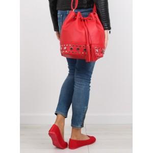 Moderné dámske kabelky typu vrece červenej farby so sťahovacou šnúrkou