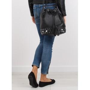 Čierna dámska kabelka na rameno typu vrece so strapcami a sťahovacou šnúrkou