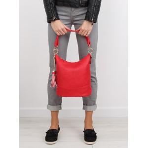 Červená dámska kabelka do ruky s hrubým remienkom