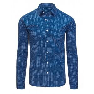 Moderné pánske košele s dlhým rukávom modrej farby a strihu slim fit