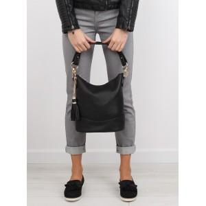 Jednoduché dámske čierne kabelky do ruky so zlatými doplnkami