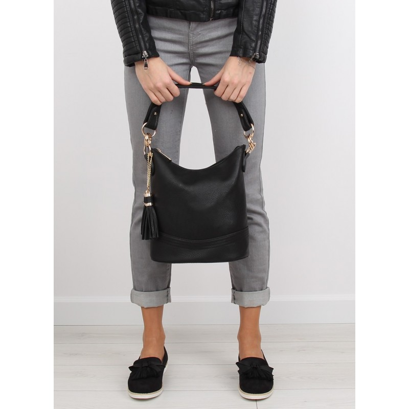 Jednoduché dámske čierne kabelky do ruky so zlatými doplnkami ... 058f13dc453