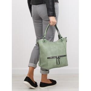 Dámska zelená kabelka do ruky so zipsom na prednej strane