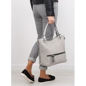 Sivé dámske priestranné kabelky do ruky s vonkajším vreckom na zips