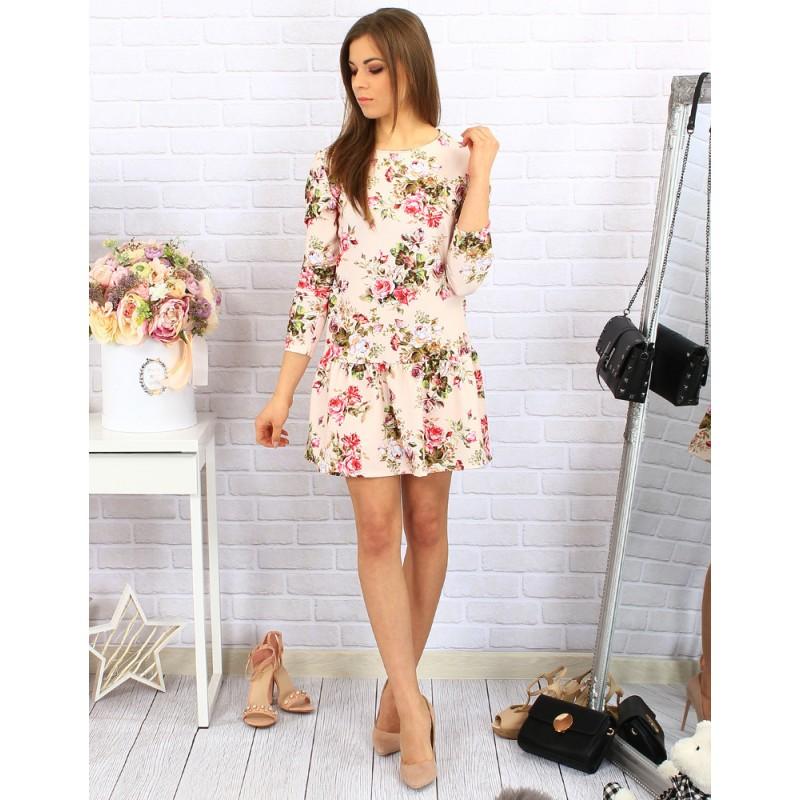 Ružové dámske šaty s dlhým rukávom a kvietkovaným vzorom - fashionday.eu e076032ad4d
