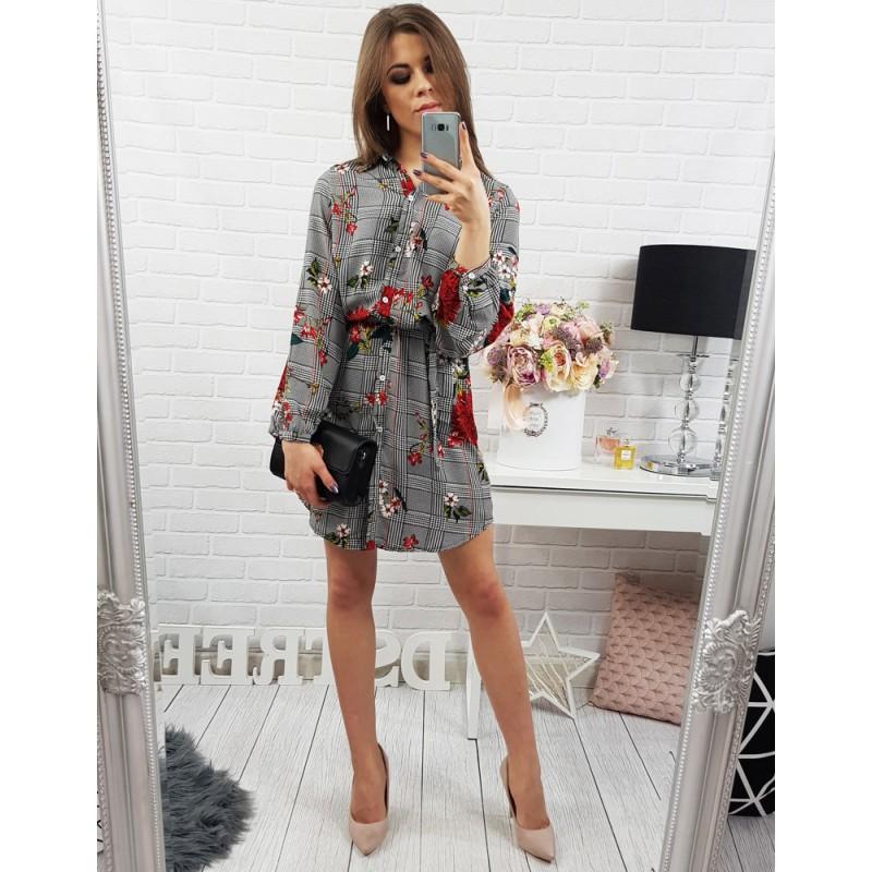 Farebné kvetované dámske šaty nad kolená so sťahovaním v páse ... c3d7ab5cb63