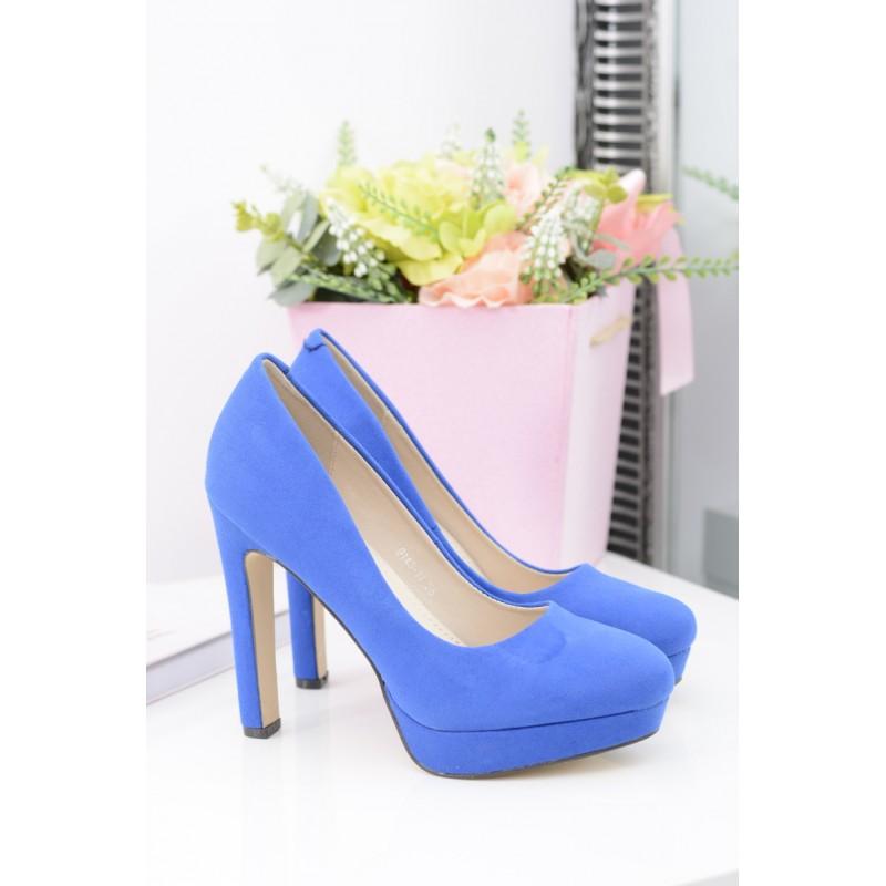 d901866231 Semišové dámske lodičky modrej farby na platforme - fashionday.eu