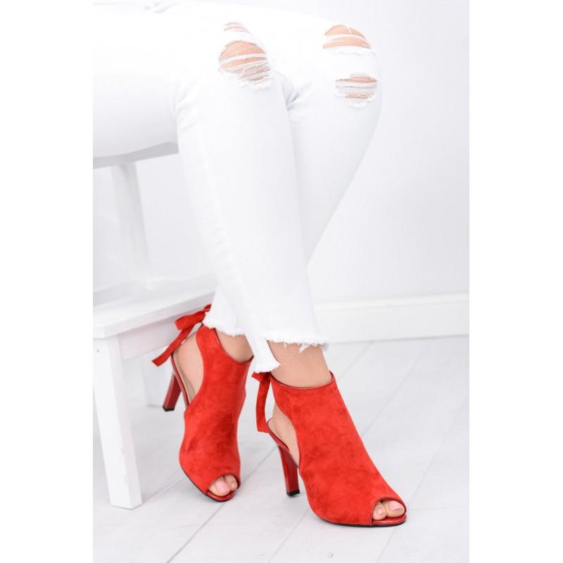 09cbb9f040 Predchádzajúci. Moderné dámske topánky červenej farby s otvorenou špičkou  ...