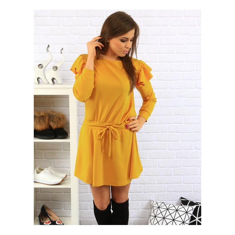 29fa4f56f Žlté pádavé dámske šaty s viazaním - fashionday.eu
