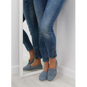 Semišové dámske poltopánky so strapcami modrej farby