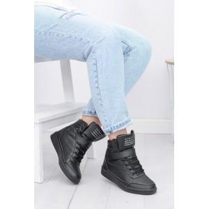 Čierna dámska športová členková obuv so šnúrkami a plným podpätkom