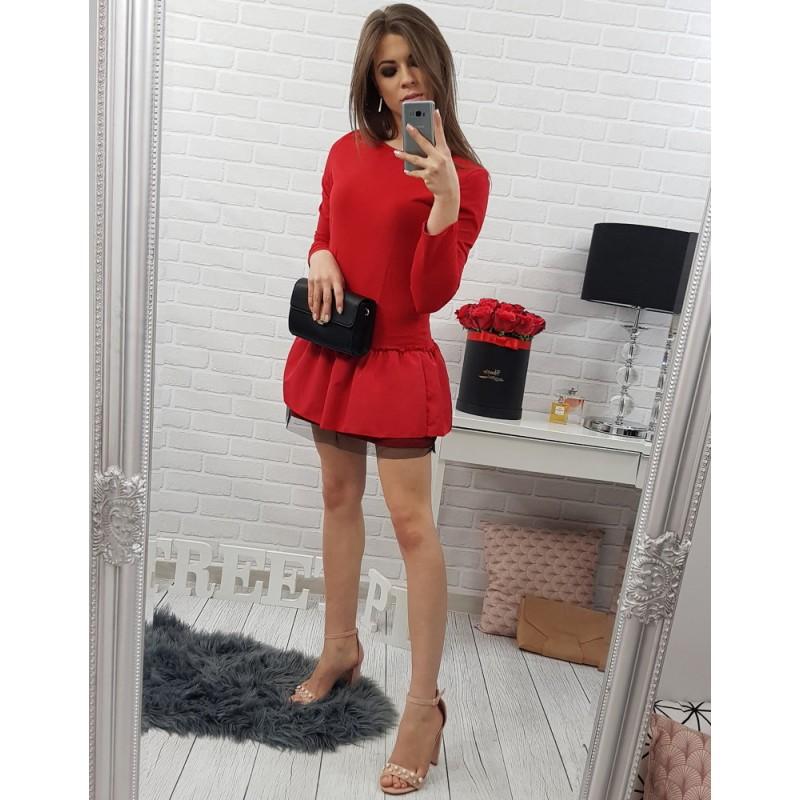 1ccc93994337 Červené krátke dámske šaty s dlhým rukávom a volánovou sukňou ...