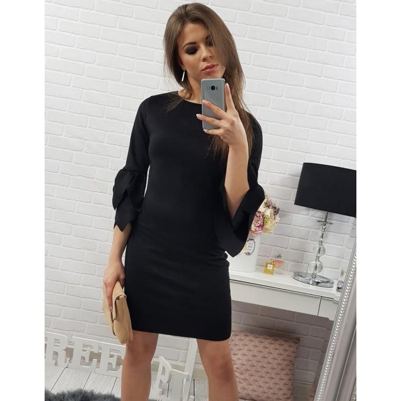 28d88a3092 Elegantné dámske šaty nad kolená v čiernej farbe s trojštvrťovým ...