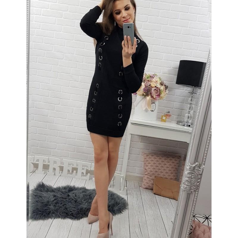 147e2bd83a Moderné dámske šaty nad kolená čiernej farby so striebornými ...