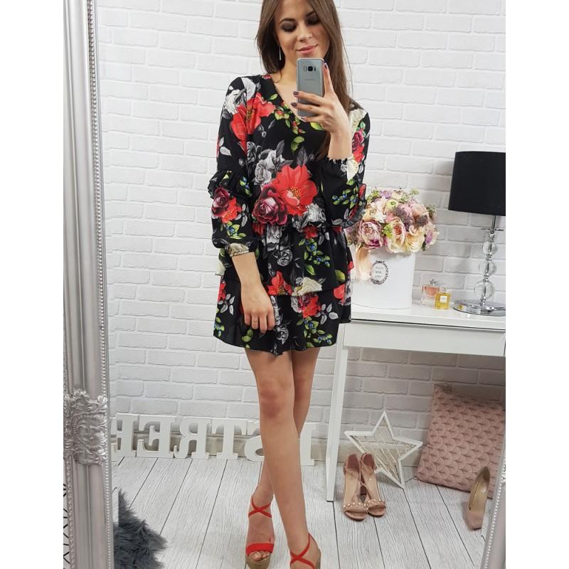 9889d51d65 Predchádzajúci. Čierne padavé dámske šaty s výstrihom do V a farebnými  kvetmi ...