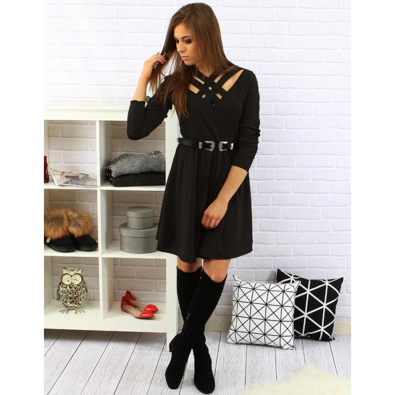 Elegantné čierne dámske šaty po kolená s dlhým rukávom a opaskom ... fcb1af2593c