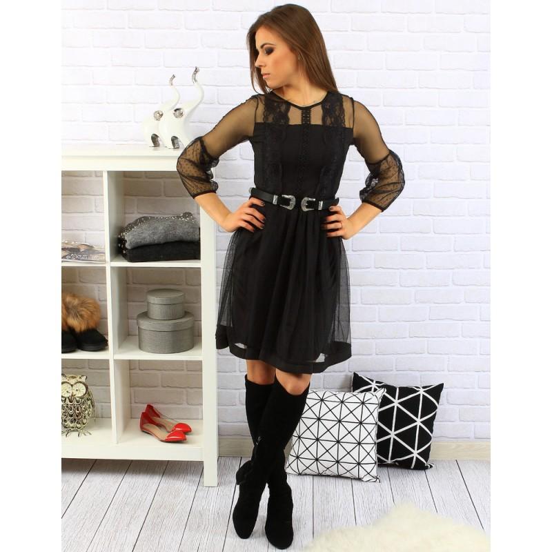 a5b91ff49cf1 Padavé čierne dámske šaty s opaskom a priesvitnými rukávmi ...