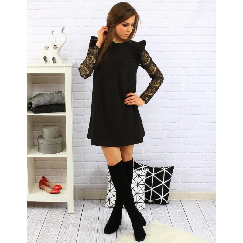 Voľné čierne dámske šaty nad kolená s dlhými vzorovanými rukávmi ... bb8e6eac5e6