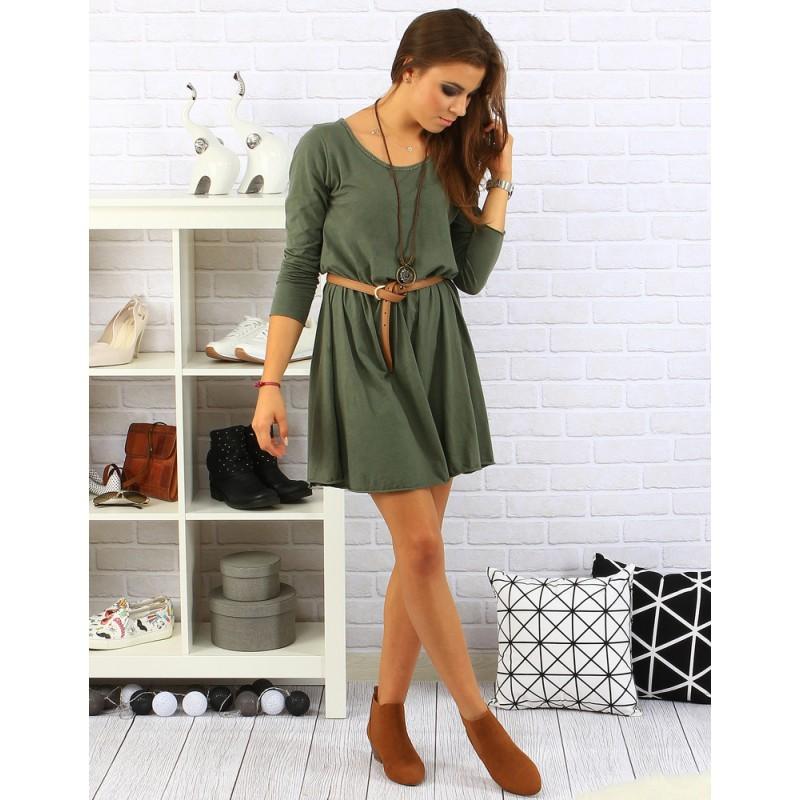 277a9e2a1034 Ležérne dámske šaty v zelenej farbe s opaskom a dlhým rukávom ...