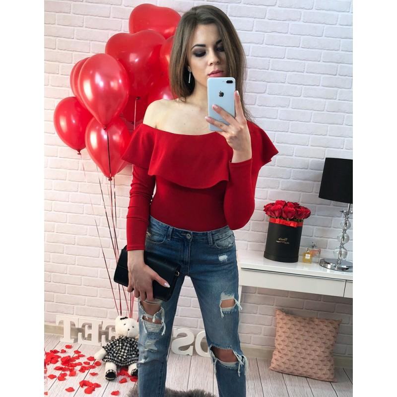 76ec8f0a5305 Sexi červené dámske body s dlhými rukávmi a odhaleným ramenom ...