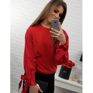 Červená dámska blúzka krátkeho strihu s dlhým rukávom