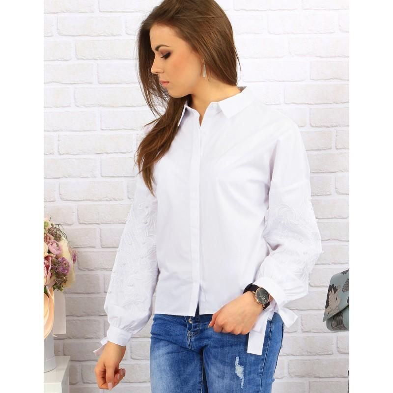 796dd56a68c5 Elegantné biele dámske košele s jemnou výšivkou na rukávoch ...