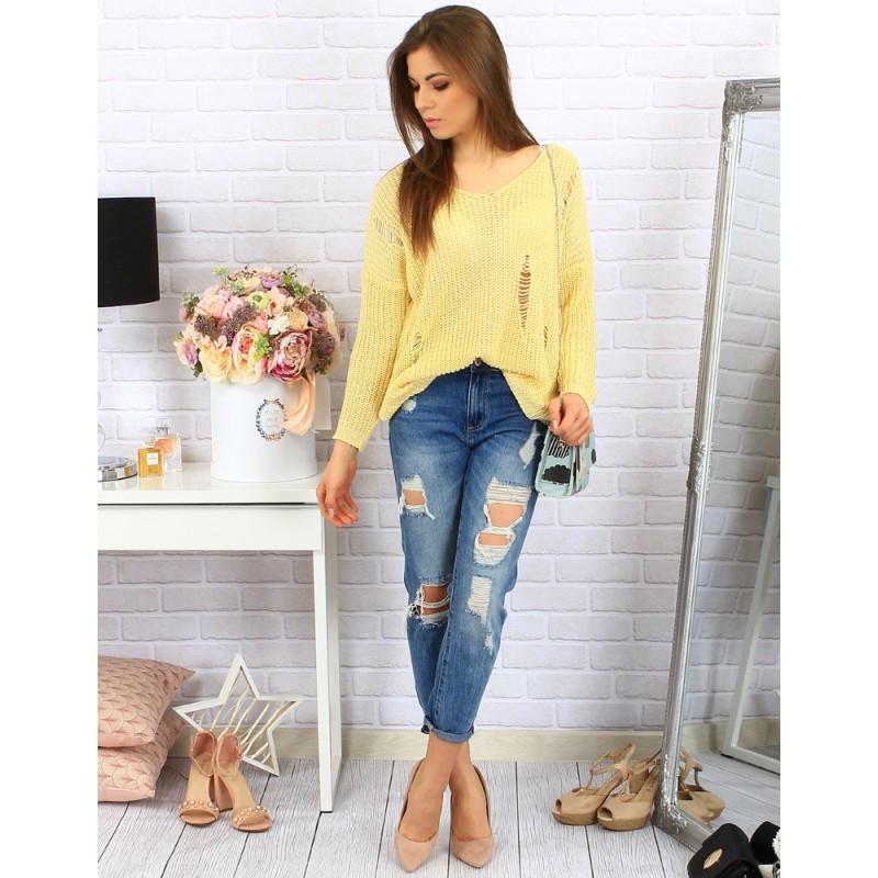 935ad8ec7824 Voľný žltý dámsky pletený sveter s modernými dierami na každý deň ...