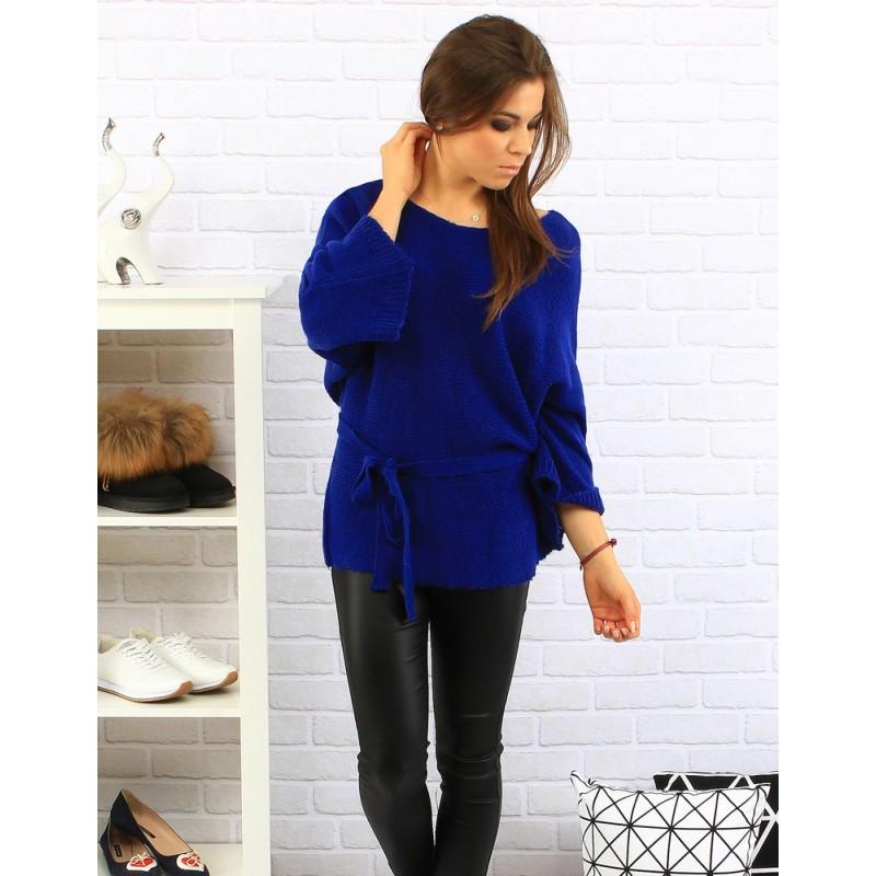 Sýto modrý dámsky pletený sveter so širokými rukávmi a opaskom na ... 9cdf8416380