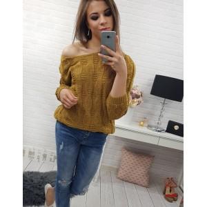 f334967c32cb Ležérny dámsky pletený sveter horčicovo žltej farby a krátkeho strihu