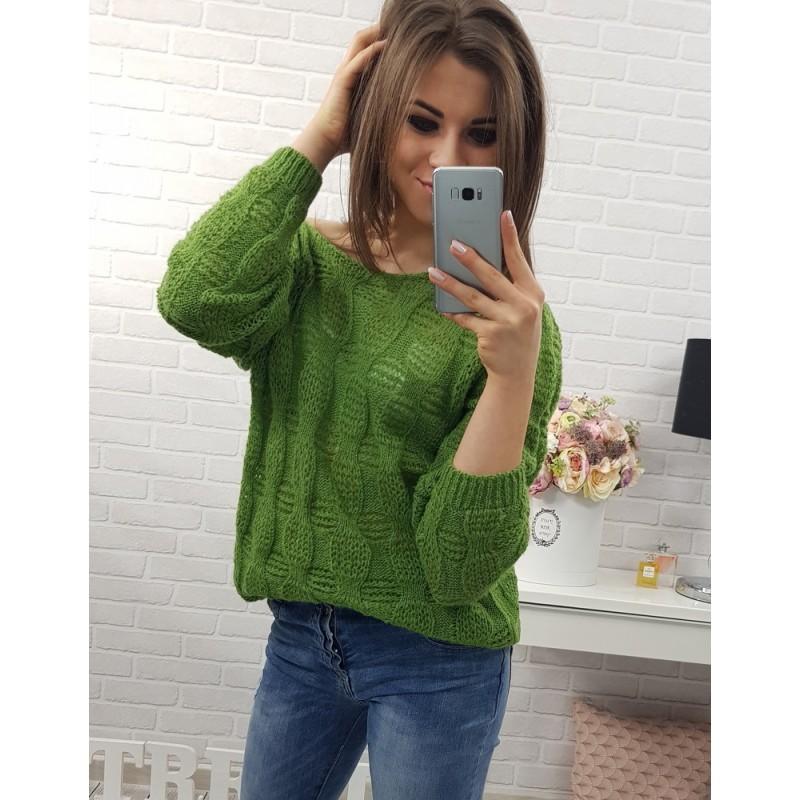 Zelené dámske pletené svetre voľného strihu s dlhými rukávmi ... 8e445e43d34