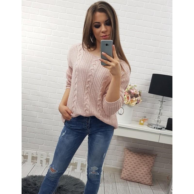 Svetlo ružové dámske pletené svetre so vzorom na každý deň ... fa414f6f64d
