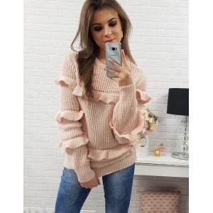 Ružové dámske pletené svetríky s dlhými rukávmi a volánmi