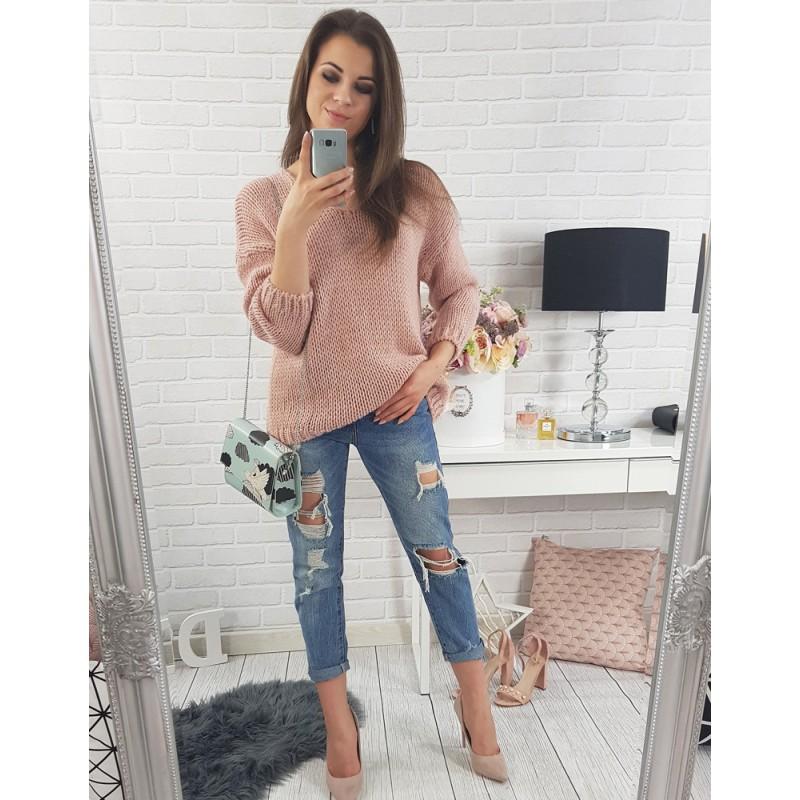 Pohodlné dámske pletené svetre voľného strihu v ružovej farbe s ... b464c567037