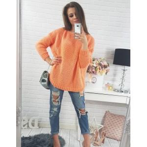 Voľné oranžové dámske pletené svetre s dlhým rukávom na voľný čas