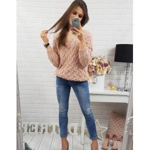 Ružový vzorovaný pletený sveter s výstrihom do V pre dámy
