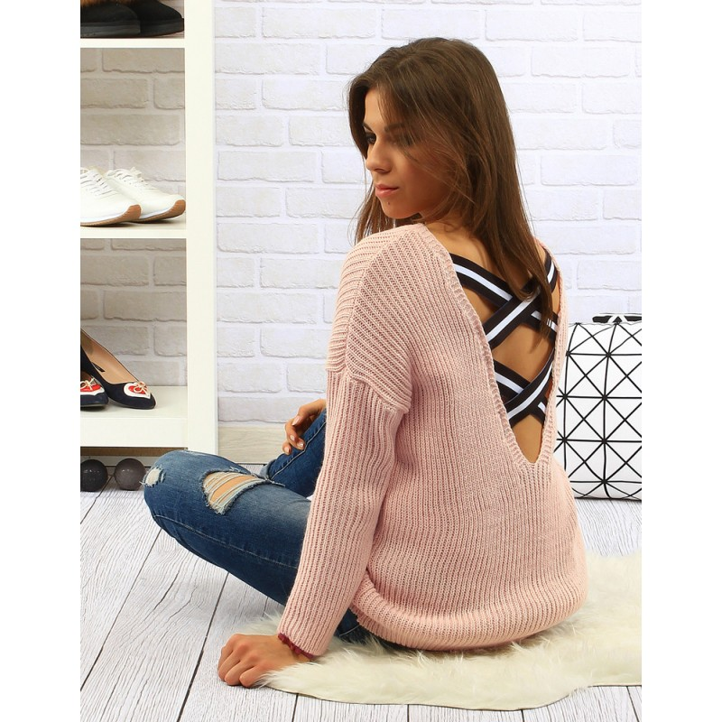 96ca844c5405 Dlhé ružové dámske pletené svetre s výstrihom na chrbte - fashionday.eu