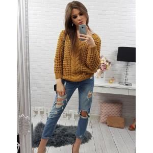 Pletený dámsky horčicovo žltý svetrík krátkeho strihu s dlhými rukávmi