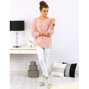 Ružové dámske pletené pulóvre voľného strihu so vzorom