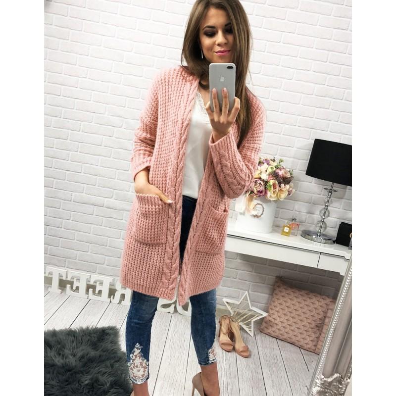 d46c13223de6 Dlhý pletený dámsky kardigán ružovej farby s vreckami - fashionday.eu