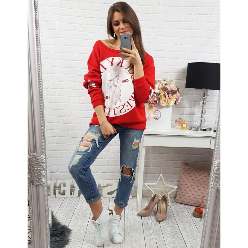 ee2d5ce24546 Voľné dámske mikiny bez kapucne v červenej farbe s bielym nápisom ...