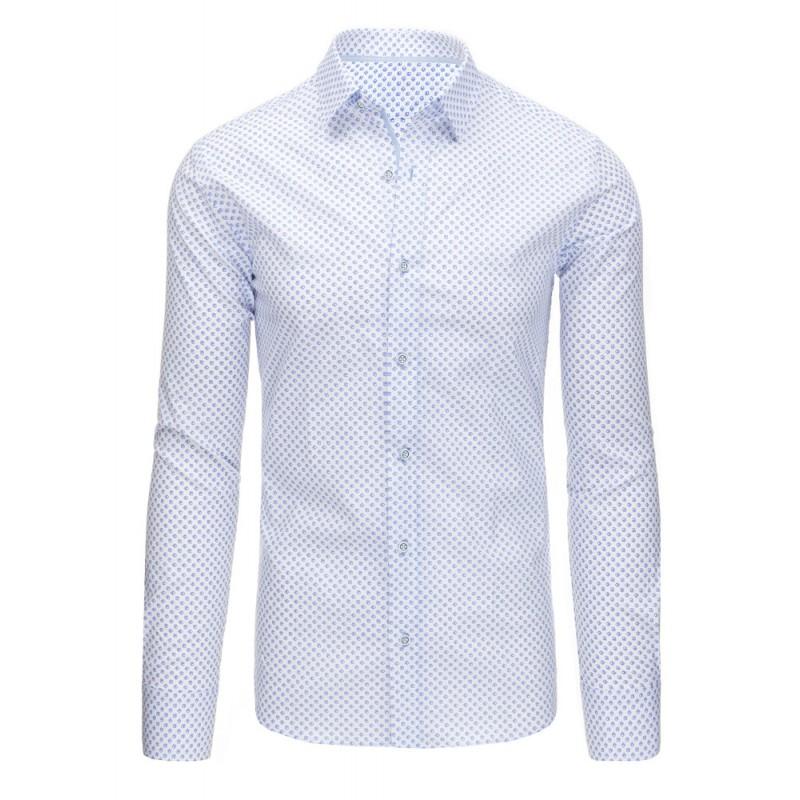772d39380da6 Biela pánska spoločenská košeľa slim fit s dlhým rukávom a modrým ...