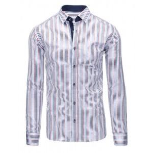 Elegantná pánska slim fit košeľa bielej farby s pruhovaným vzorom